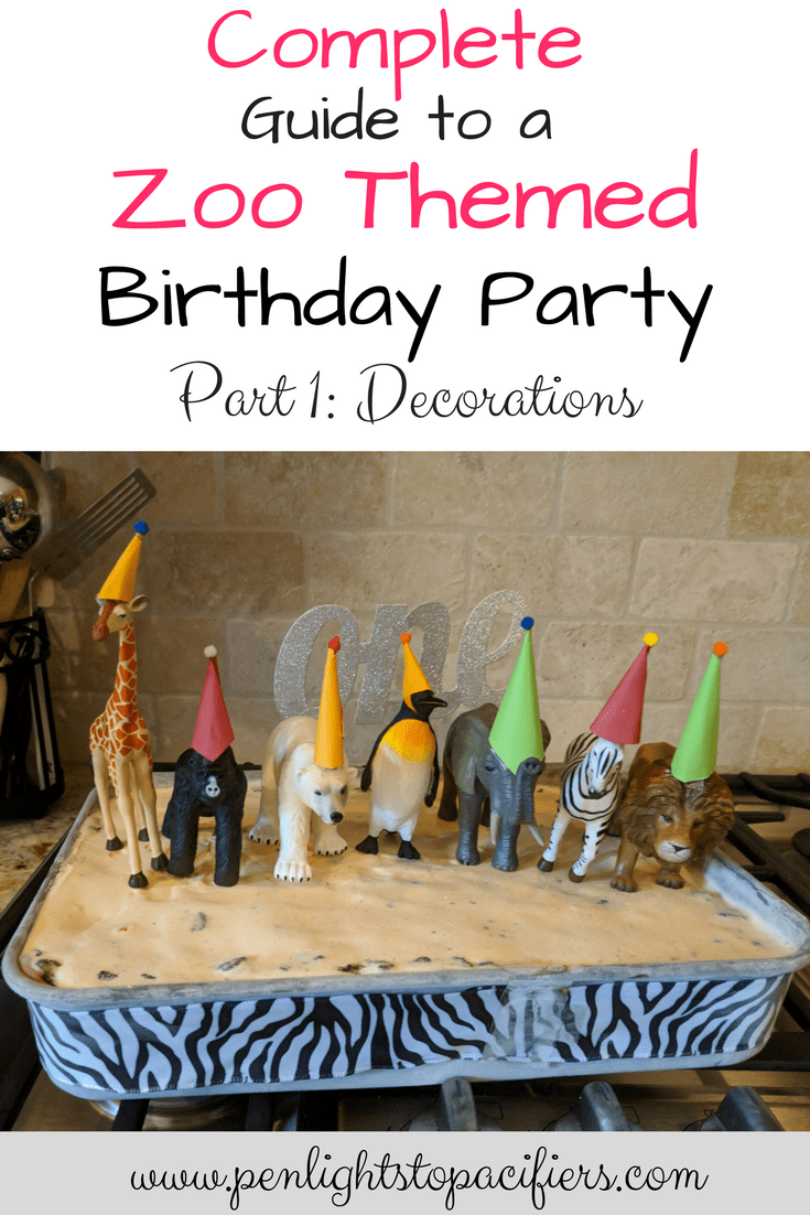 The complete guide to planning a zoo themed birthday party including everything you need to know to make great zoo themed decorations. These zoo themed decorations are easy and cheap and are sure to be a hit at your party!